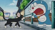 Doraemon Suprised look a cat turn into mice