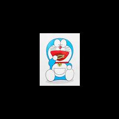 Artwork of Doraemon eating a dorayaki.