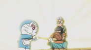 Doraemon (Denja) his the ball