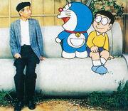 Fujiko with Nobita and Doraemon