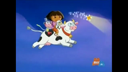 Dora, Boots, and Little Lamb jumping over the moon with Glowy