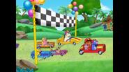 Benny wins the go kart race