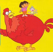 Big red chicken dora boots