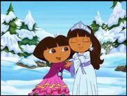 Dora the explorer dora and snow princess hugging