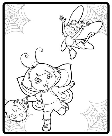 FileDora And Boot Halloween Costumes Coloring Page