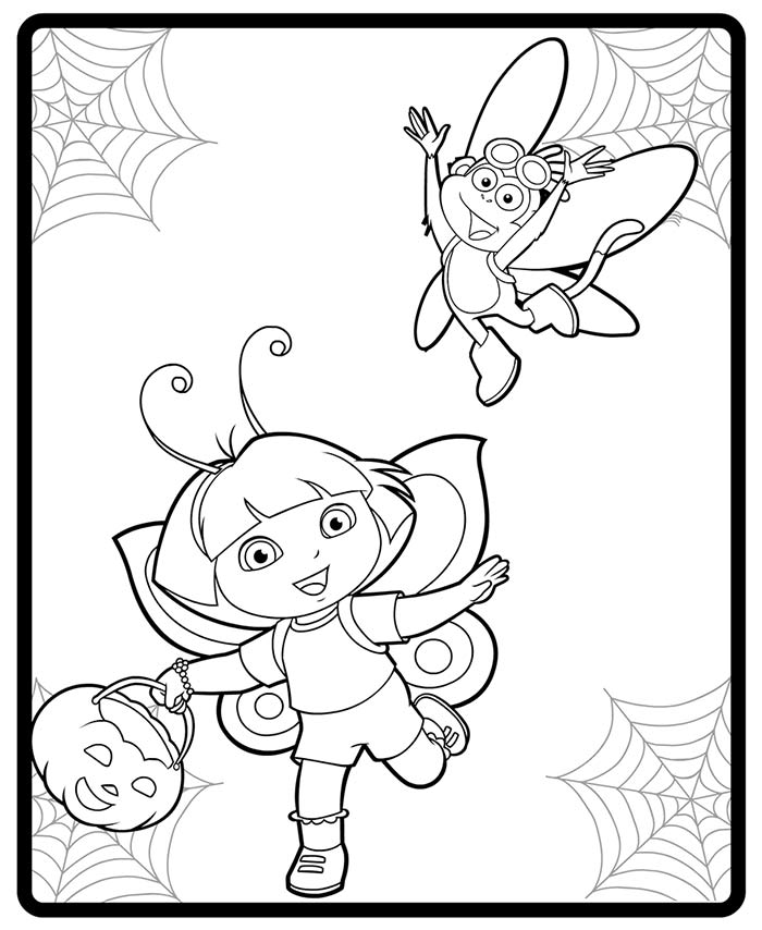 Image - Dora and Boot Halloween costumes coloring page.jpg | Dora ...