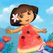 Dora and a watermelon slice