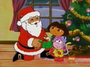Dora and Boots meeting Santa
