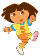 Dora playing soccer