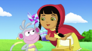 Little red riding hood and boots the monkey
