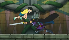 Nobita danh bai Saberu