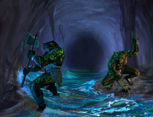 Frogmen warrior slaves raid