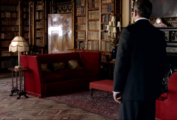 Library Red Sofas Downton Abbey Png
