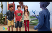 Children React Blue Shuttlecock