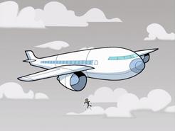 S01e01 flying into a plane