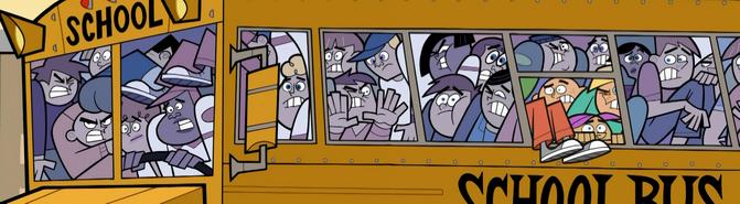 S01e18 crowded school bus wideshot