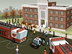 S01e09 firetrucks at Casper High