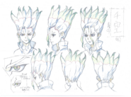 Senku Head Shading TV Animation Design Sheet