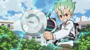 Young Senku invents a shocking device