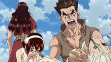 Taiju and Yuzuriha mourn Senku