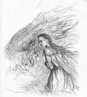 John howe middle-earth nienor and glaurung sketch2 med