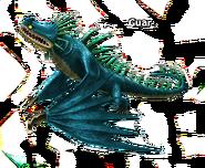 Skrill blau mit grünen Stacheln