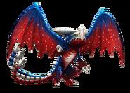 Blau-rot-weißer Dreifachstachel
