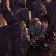 Astrid and Hiccup hugging Family Matters