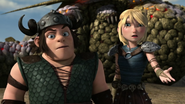 Out of the frying pan scene, Astrid and snotlout