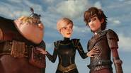 Out of the frying pan scene, Hiccup, Fishlegs and Mala 2