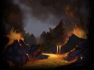 Volcano biome art