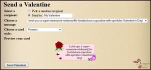 Valentine send message