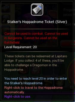 Stalkers Hoppadrome Ticket silver