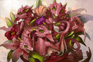 Flower dragon bouquet by the sixthleafclover-d5u50hy