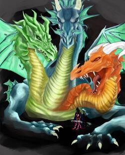 Three headed dragon by crayonsandcucumbers-d6q0a3u