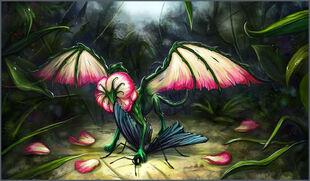 Pink rose dragon by curlyhair-d4miwjv