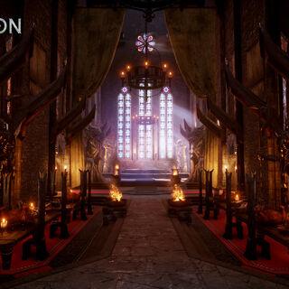 Sala tronowa z dekoracjami w stylu tevinterskim