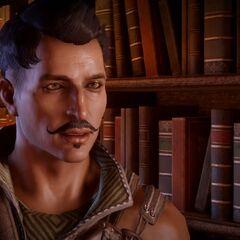 Dorian vor Bücherregal in der Himmelsfeste.