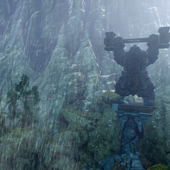 Dwarven statue within the forest