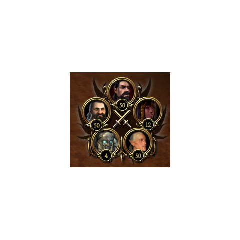 The interface showing available troops during the final battle. In counter-clockwise order starting with the top: 50 humans, 50 dwarves, 4 golems, 50 elves, and 12 mages.
