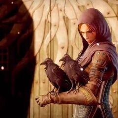 Leliana preparing to release her messenger birds