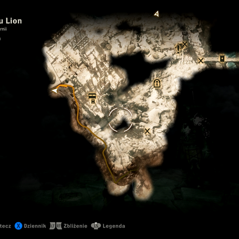 Położenie ukrytych schodów w Emprise du Lion (strzałka symbolizująca gracza)