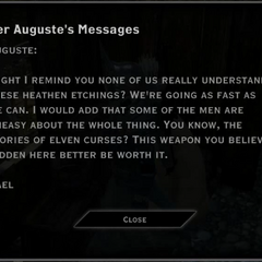 Found in Argon's Lodge; to Auguste, from Gael