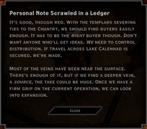 Note Text - Personal Note Scrawled in a Ledger