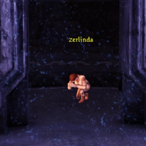 Zerlinda praying in Orzammar's chantry