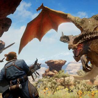 High dragon ambushing Varric & Cassandra