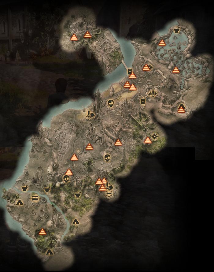 Sehenswürdigkeiten in den Ebenen - Karte
