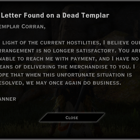 This letter, found on a body, starts the quest