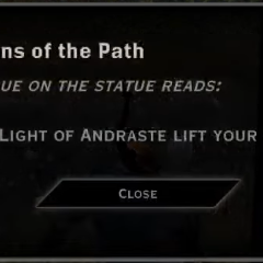 Guardians of the Path Light of Andraste Landmark Text