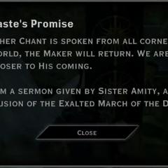 Andraste's Promise Landmark Text